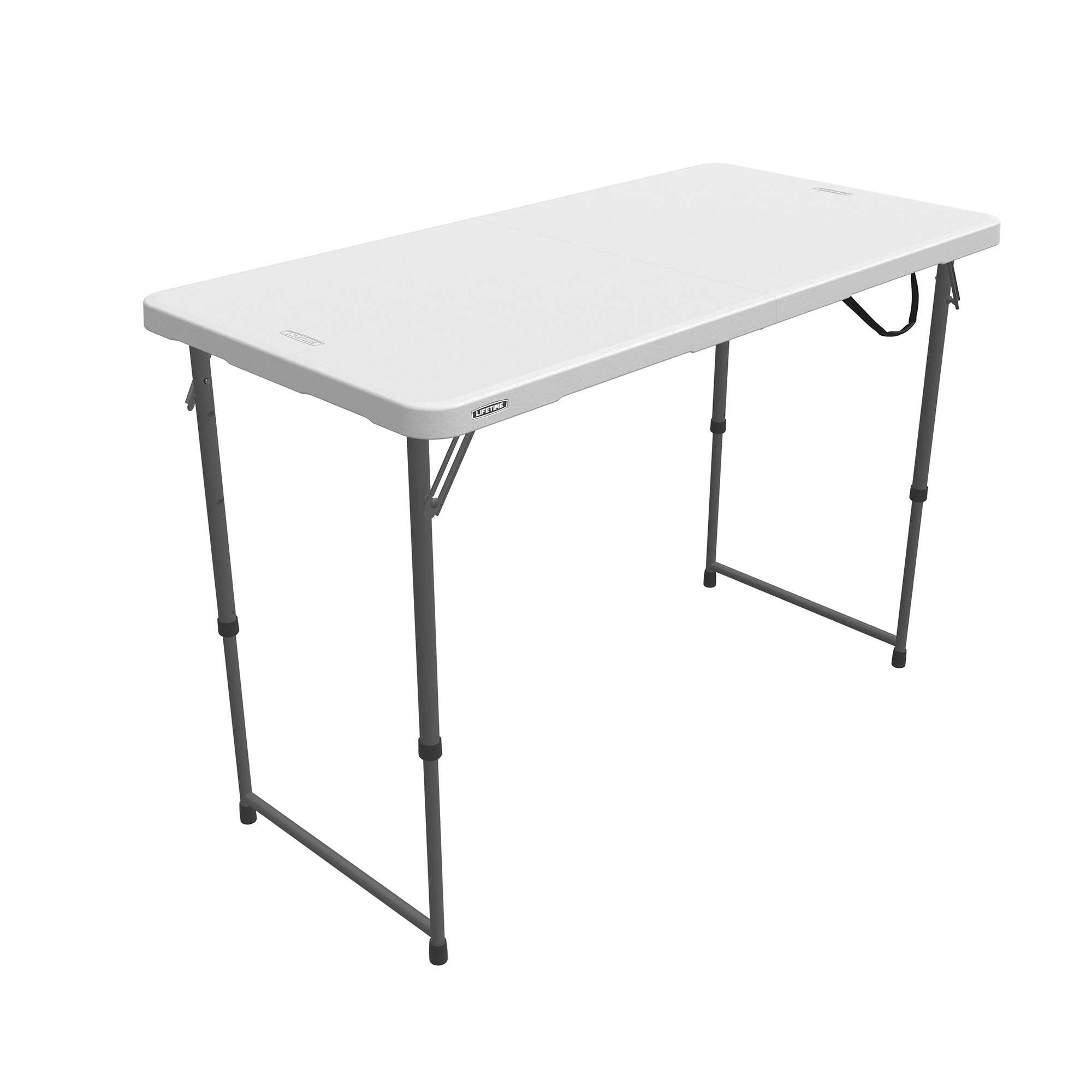 Table pliable en 2 (valise) ajustable rectangulaire (blanc) 122cm / 4 personnes
