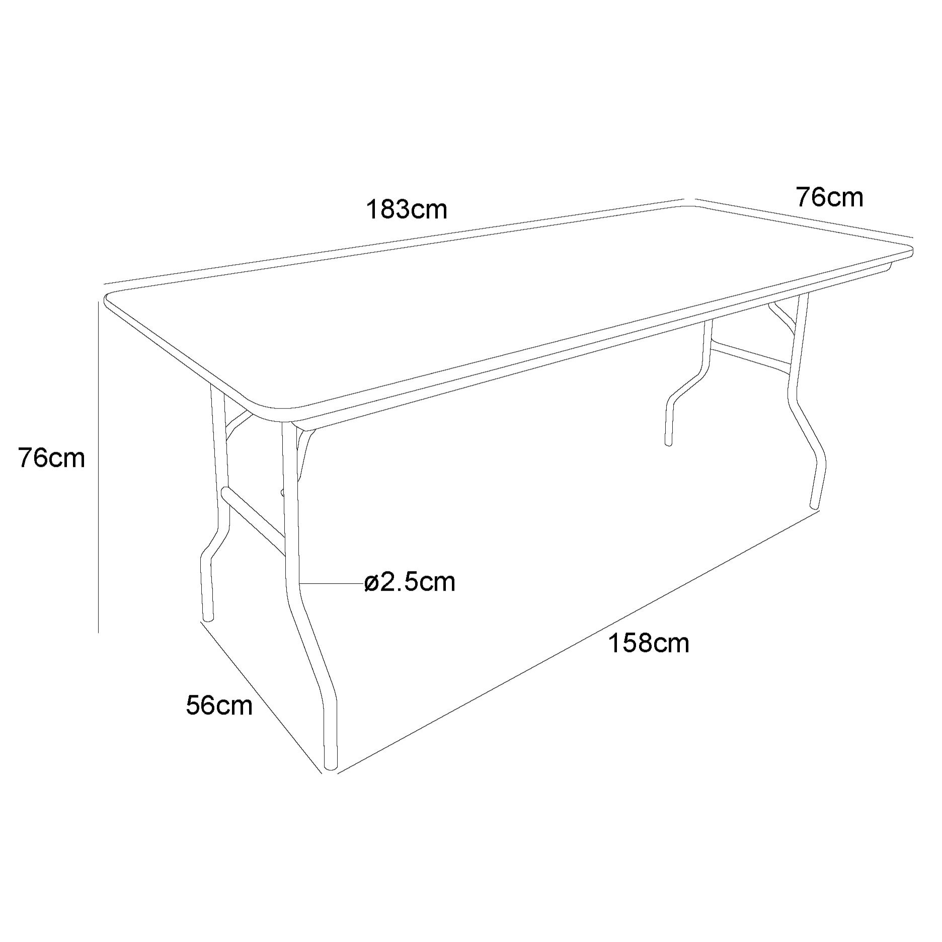 Table pliante rectangulaire Traiteur 183cm / 8 personnes