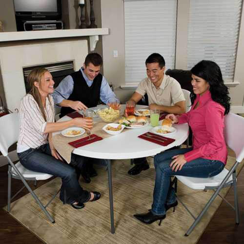 table pliable en 2 valise ronde beige dia 122cm 4 6 personnes table pliante table. Black Bedroom Furniture Sets. Home Design Ideas