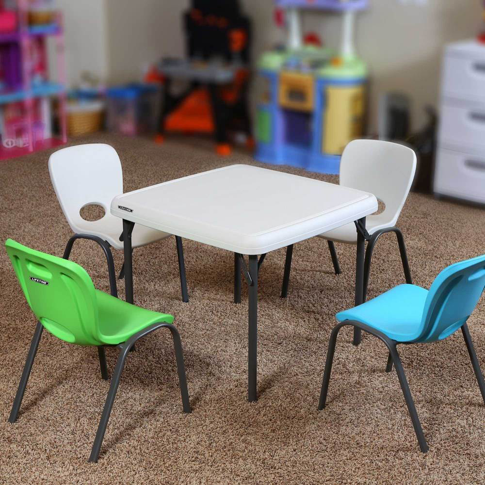 Table enfant pliante carr e 61cm 2 4 personnes table for Table pliante murale 4 personnes