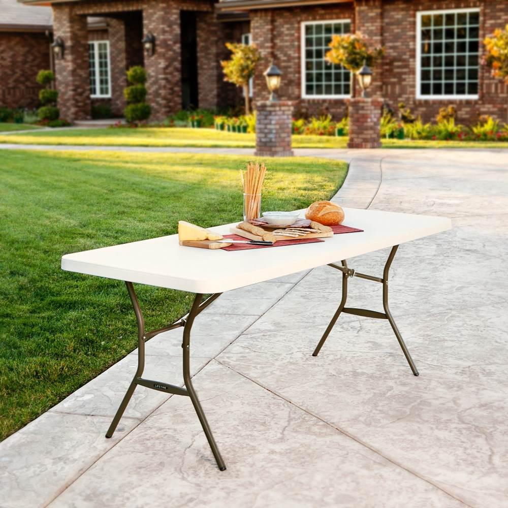 table pliante rectangulaire 183cm beige 8 personnes table pliante table pliante poly thyl ne. Black Bedroom Furniture Sets. Home Design Ideas