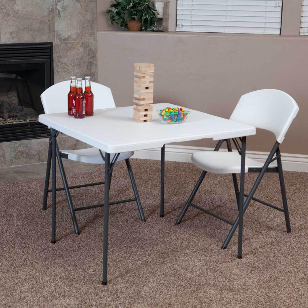 table pliable en 2 valise carr e 86cm 4 personnes table pliante table pliante poly thyl ne. Black Bedroom Furniture Sets. Home Design Ideas