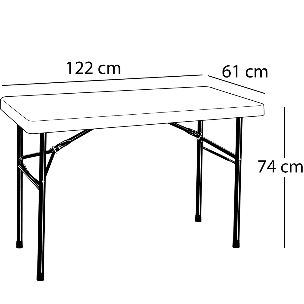 Table pliante rectangulaire (blanc) 122cm / 4 personnes