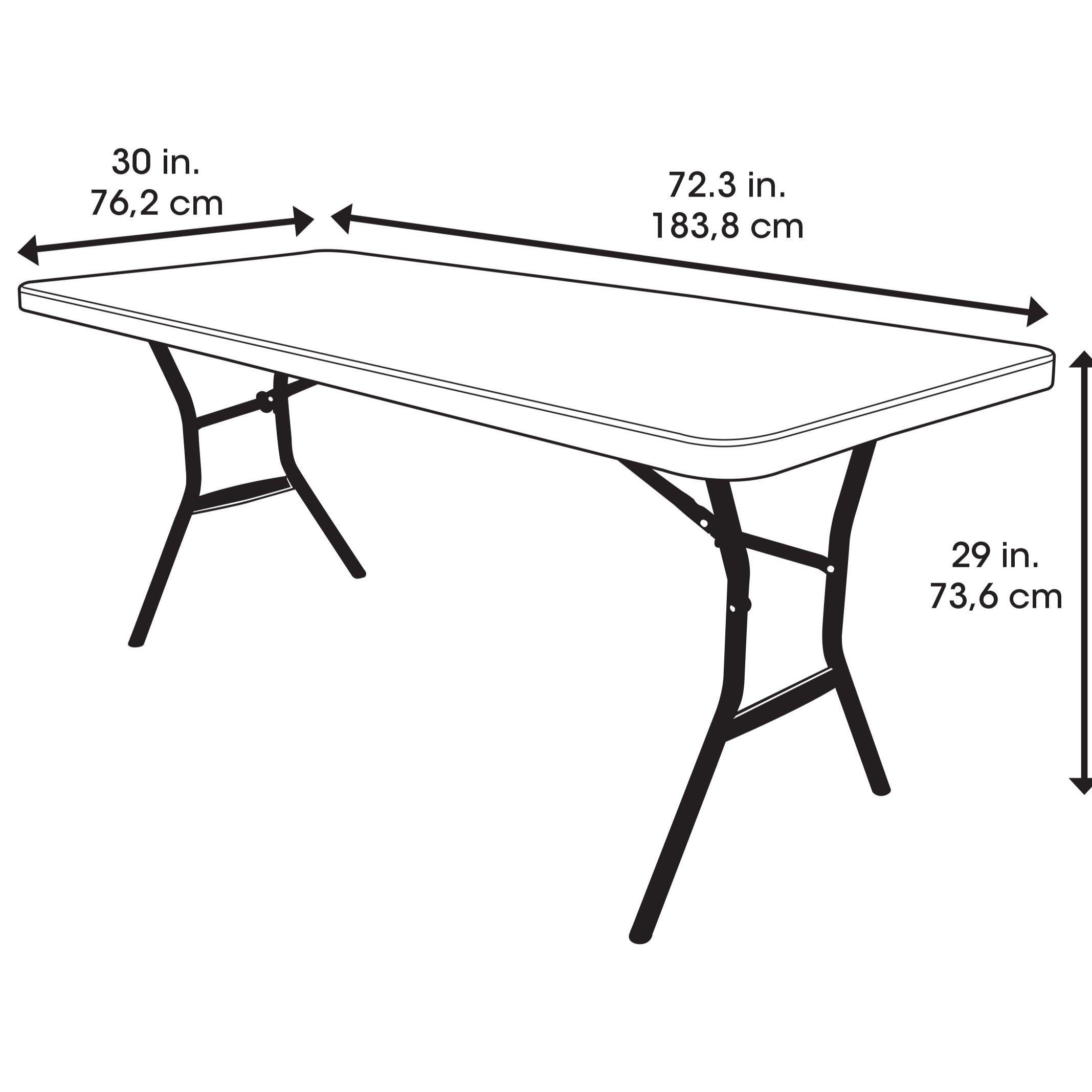 Table pliante rectangulaire 183cm (blanc) / 8 personnes
